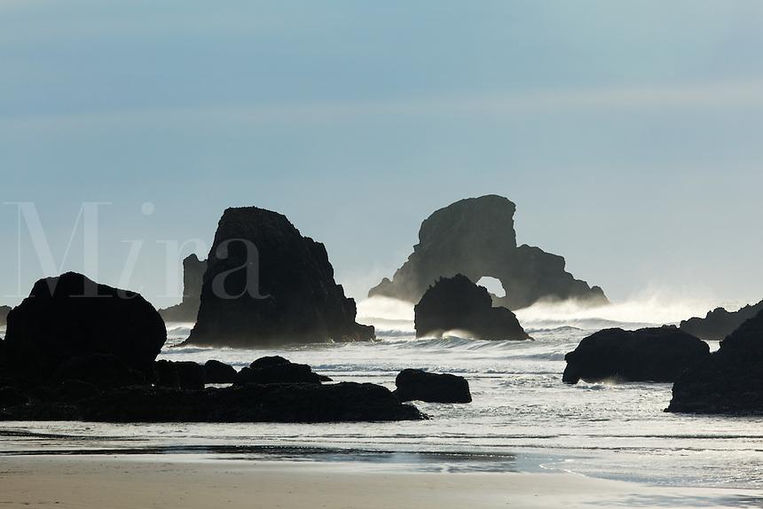 Sea stacks on Oregon Coast, Ecola State Park, Oregon, USA