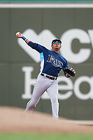 GCL Rays shortstop Luis Leon (4) throws to first base during a game against the GCL Red Sox on August 1, 2018 at JetBlue Park in Fort Myers, Florida.  GCL Red Sox defeated GCL Rays 5-1 in a rain shortened game.  (Mike Janes/Four Seam Images)