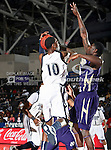 Jackson State Tigers guard/forward Tyrone Hanson (10) in action during the SWAC Tournament game between the Prairie View A & M Panthers and the Jackson State Tigers at the Special Events Center in Garland, Texas. Jackson State defeats Prairie View A & M 50 to 38.
