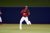 Washington Nationals outfielder Juan Soto (22) throws the ball in during a Major League Spring Training game against the Miami Marlins on March 20, 2021 at FITTEAM Ballpark of the Palm Beaches in Palm Beach, Florida.  (Mike Janes/Four Seam Images)