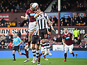 HEARTS' CRAIG BEATTIE GETS ABOVE ST MIRREN'S GRAHAM CAREY TO HEAD HOME HEARTS' FIRST GOAL