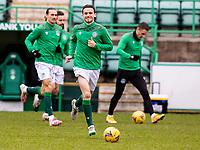 6th February 2021; Easter Road, Edinburgh, Scotland; Scottish Premiership Football, Hibernian versus Aberdeen; Paul McGinn of Hibernian warms up before kick off