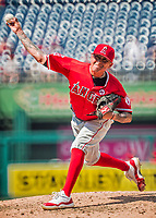 16 August 2017: Los Angeles Angels pitcher Jesse Chavez on the mound against the Washington Nationals at Nationals Park in Washington, DC. The Angels defeated the Nationals 3-2 to split their 2-game series. Mandatory Credit: Ed Wolfstein Photo *** RAW (NEF) Image File Available ***