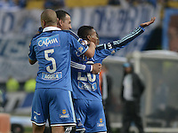 BOGOTÁ -COLOMBIA, 16-03-2014. Alex Diaz(Der) de Millonarios celebra un gol en contra del Itaguí durante partido por la fecha 11 de la Liga Postobón  I 2014 jugado en el estadio Nemesio Camacho el Campín de la ciudad de Bogotá./ Alex Diaz (R) of Millonarios celebrates a goal  against Itagui during for the 11th date of the Postobon  League I 2014 played at Nemesio Camacho El Campin stadium in Bogotá city . Photo: VizzorImage/ Gabriel Aponte / Staff