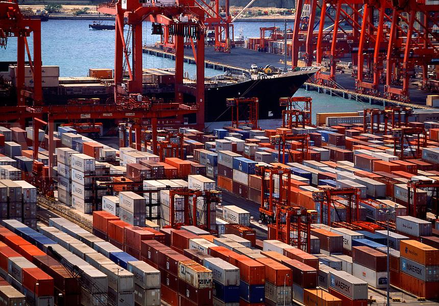 Ship being loaded with cargo Kwai Fong Harbor Hong Kong