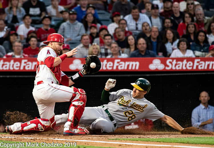 Oakland A's Matt Olson slides home past L.A. Angles Jonathan Lucroy.