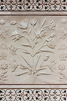 Agra, India.  Taj Mahal, Engraved Floral Designs in White Marble.