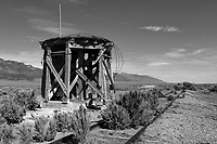 The base for the water tower and a pair of steel rails remains at the abandoned Cherry Creek Depot in Cherry Creek, Nevada.