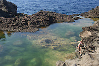 - island of Pantelleria,  coastal small lake of Ondines....- isola di Pantelleria, laghetto costiero delle Ondine