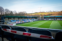 Wycombe Wanderers prepare the stadium to let in 1000 supporters in a test event ahead of the match against Stoke City in the EFL Championship, the first time supporters have been able to attend since March 2020 and the first time of seeing the club in the Championship. Government restrictions on supporters able to attend football stadiums was relaxing from 01 Dec 2020 as the Covid-19 pandemic continues.<br /> Adams Park Stadium, High Wycombe, Bucks. <br /> Photo by Andy Rowland.