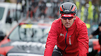 Milan - San Remo 2013: the iced edition.Greg Van Avermaet (BEL) on his way to the 2nd start of the day