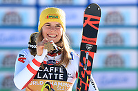 20th February 2021; Cortina d'Ampezzo, Italy; FIS Alpine World Ski Championships, Women's Slalom,  Katharina Liensberger (AUT) showing her gold medal