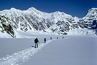 Cross Country Skiers in Ruth Amphitheater and Ruth Glacier with Denali (aka Mt. Mckinley) in background.  CIRCA 1984