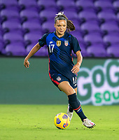 ORLANDO, FL - FEBRUARY 24: Sophia Smith #17 of the USWNT dribbles during a game between Argentina and USWNT at Exploria Stadium on February 24, 2021 in Orlando, Florida.