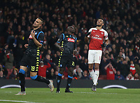 Arsenal's Pierre-Emerick Aubameyang after a near miss<br /> <br /> Photographer Rob Newell/CameraSport<br /> <br /> UEFA Europa League First Leg - Arsenal v Napoli - Thursday 11th April 2019 - The Emirates - London<br />  <br /> World Copyright © 2018 CameraSport. All rights reserved. 43 Linden Ave. Countesthorpe. Leicester. England. LE8 5PG - Tel: +44 (0) 116 277 4147 - admin@camerasport.com - www.camerasport.com