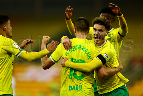 7th November 2020; Carrow Road, Norwich, Norfolk, England, English Football League Championship Football, Norwich versus Swansea City; Marco Stiepermann of Norwich City celebrates with Josh Martin after he scores for 1-0 in the 84th minute