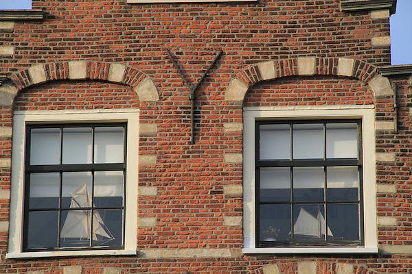Sailboat models in windows, along the Spaarne River, Haarlem, Holland, Netherlands.