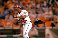 3 September 2005: Jose Guillen, outfielder for the Washington Nationals, get a walk during a game against the Philadelphia Phillies. The Nationals defeated the Phillies 5-4 at RFK Stadium in Washington, DC. <br />