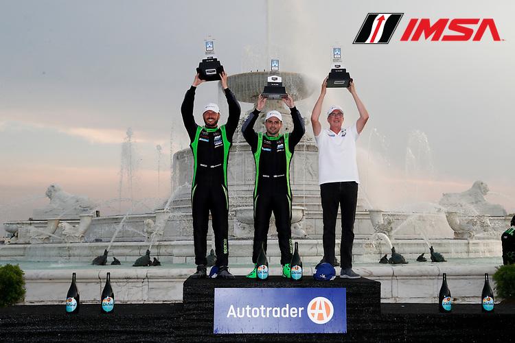 #39 CarBahn with Peregrine Racing Audi R8 LMS GT3, GTD: Richard Heistand, Jeff Westphal, winners, Victory Lane