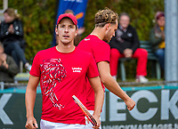Netherlands, September 27,  2020, Beneden-Leeuwen, TV Lewabo, Competition, Men's premier league, TV Lewabo vs TV Suthwalda, Doubles: Steffan.Wauters (NED) (R) and Justin Eleveld (NED) team Lewabo <br /> Photo: Henk Koster/tennisimages.com