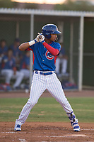 AZL Cubs 2 shortstop Luis Verdugo (18) at bat during an Arizona League game against the AZL Reds at Sloan Park on June 18, 2018 in Mesa, Arizona. AZL Cubs 2 defeated the AZL Reds 4-3. (Zachary Lucy/Four Seam Images)