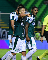 PALMIRA - COLOMBIA, 28-09-2019: Feiver Mercado del Cali celebra después de anotar el tercer gol de su equipo durante partido entre Deportivo Cali y Patriotas Boyacá por la fecha 13, cudrangulares semifinales, de la Liga Águila I 2019 jugado en el estadio Deportivo Cali de la ciudad de Palmira. / Feiver Mercado of Cali celebrates after scoring the thirtd goal of his team during match between Deportivo Cali and Patriotas Boyaca for the date 13 as part of Aguila League I 2019 played at Deportivo Cali stadium in Palmira city.  Photo: VizzorImage / Nelson Rios / Cont