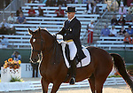 Pierre St. Jaques and Lucky Tiger of the USA perform a Freestyle Dressage demonstration before the Grand Prix Freestyle Dressage competition at the Alltech World Equestrian Games in Lexington, Kentucky.