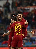 Football, Serie A: AS Roma - Brescia FC, Olympic stadium, Rome, November 24, 2019. <br /> Roma's Chris Smalling (l) celebrates after scoring with his teammates during the Italian Serie A football match between Roma and Brescia at Olympic stadium in Rome, on November 24, 2019. <br /> UPDATE IMAGES PRESS/Isabella Bonotto