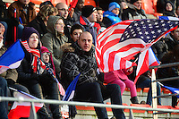 Lorient, France. - Sunday, February 8, 2015: USA fans. France defeated the USWNT 2-0 during an international friendly at the Stade du Moustoir.