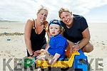 Denise and Jennifer O'Riordan and Luke Coffey enjoying the sunny after afternoon on Banna Beach on Tuesday.