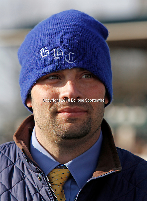 LEXINGTON, KY - April 07, 2018. Trainer Brad Cox after winning the Ashland Stakes.<br /> #1 Monomoy Girl and jockey Florent Geroux after winning the 81st running of The Central Bank Ashland Grade 1 $500,000 for owner Michael Dubb, Monomoy Stables, The Elkstone Group and Bethlehem Stables and trainer Brad Cox at Keeneland Race Course.  Lexington, Kentucky. (Photo by Candice Chavez/Eclipse Sportswire/Getty Images)