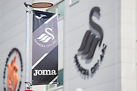A general view of the Joma Car Park banners at the Liberty Stadium prior to kick off of the pre-season friendly match between Swansea City and Sampdoria at The Liberty Stadium, Swansea, Wales, UK. 05 August 2017