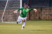 TCU goalkeeper Vittoria Arnold (1) during NCAA soccer game, Friday, September 12, 2014 in San Marcos, Tex. TCU defeated Texas State 1-0. (Mo Khursheed/TFV Media via AP Images)