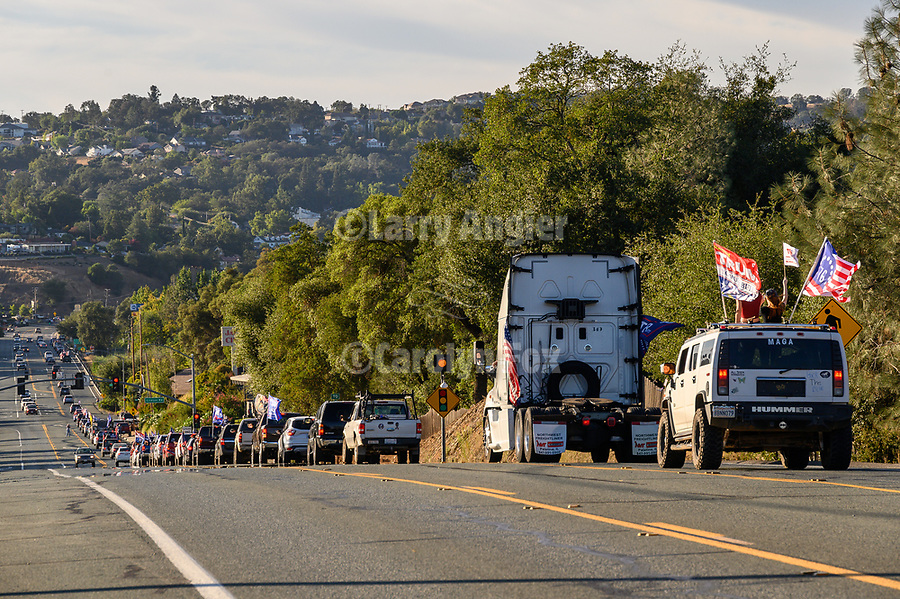 "An impromptu Trump Drive that hit social media a few days ago and expecting maybe 30 vehicle, nuked into a community-wide full-fledged, loaded with freight Trump Train traveled the roads of Amador County with more than 400 cars, trucks, motorhomes, boat trailers and more between Scottsville, to Sutter Creek. The estimated length of three to four miles took nearly two hours to settled down. Despite the massive rally traffic, few delays to locals and visitors occurred due to the peaceful and respectful drivers and the assistance of local law enforcement, Amador County SO, and CHP units who helped to keep the traffic flowing. At the conclusion of the ""train"" many gathered to the overflow crowds to enjoy Taco Tuesday at Mel's in downtown Jackson."