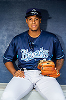 Corpus Christi Hooks pitcher Bryan Abreu (44) poses for a photo on May 1, 2019, at Arvest Ballpark in Springdale, Arkansas. (Jason Ivester/Four Seam Images)