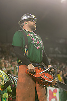 Portland, Oregon - Wednesday September 25, 2019: Timber Joey during a regular season game between Portland Timbers and New England Revolution at Providence Park on September 25, 2019 in Portland, Oregon.