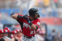 Freddy Zamora (23) of the Carolina Mudcats waits for his turn to hit during the game against the Kannapolis Cannon Ballers at Atrium Health Ballpark on June 13, 2021 in Kannapolis, North Carolina. (Brian Westerholt/Four Seam Images)