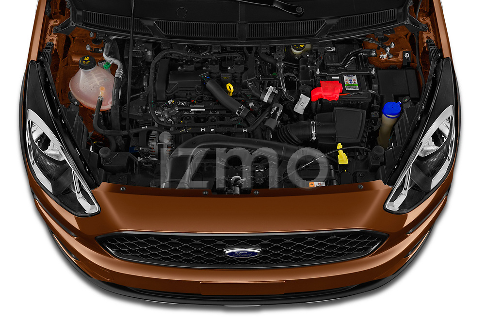 Car stock 2019 Ford KA + Active 5 Door Hatchback engine high angle detail view