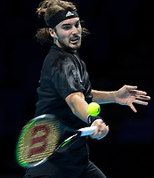 15th November 2020, O2, London, England;  StefanTsitsipas of Greece competes during the singles group match against Dominic Thiem of Austria at the ATP, Tennis Mens World Tour Finals 2020 in London