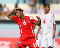Alfredo Stephens (19) of Panama reacts to a missed shot during the group stage of the CONCACAF Men's Under 17 Championship at Jarrett Park in Montego Bay, Jamaica. Panama tied Cuba, 0-0.