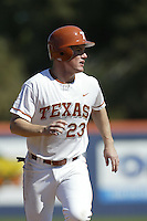 Dustin Majewski of the Texas Longhorns runs the bases during a game against the Tulane Green Wave at Goodwin Field on March 2, 2003 in Fullerton, California. (Larry Goren/Four Seam Images)