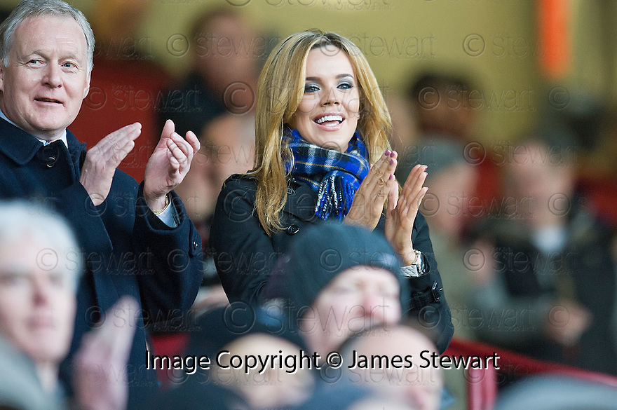 TOWIE STAR MARIA FOWLER TAKERS HER SEAT IN THE STAND AT FIR PARK, MOTHERWELL, TO WATCH HER BOYFRIEND, ST JOHNSTONE'S, LEE CROFT PLAY AGAINST MOTHERWELL