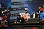 HOT SPRINGS, AR - AUGUST 12: Berkley pro Justin Atkins weighing in his fish from day three of the FLW Forrest Wood Cup on Lake Ouachita in Hot Springs, Arkansas. (Photo by Justin Manning/Eclipse Sportswire/Getty Images)