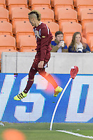 Houston, TX - Friday December 9, 2016: Andre Shinyashiki (9) of the Denver Pioneers celebrates his goal in the first half against the Wake Forest Demon Deacons at the  NCAA Men's Soccer Semifinals at BBVA Compass Stadium.