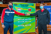 Den Bosch, The Netherlands, April 15, 2021,    Maaspoort, Billy Jean King Cup  Netherlands -  China : Draw ,  Captains Paul Haarhuis (NED) (L) and Captain Shuo Liu (CHN)<br /> Photo: Tennisimages/Henk Koster