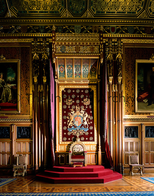 The Queen's Robing Room. This is where the Queen puts on her crown before the State Opening of Parliament. The throne is presumed to have been designed by E.M Barry and probably supplied by F. and J.G. Crace