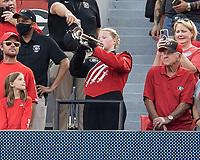 ATHENS, GA - SEPTEMBER 18: Audrey Smith plays the Georgia Battle Hymn before a game between South Carolina Gamecocks and Georgia Bulldogs at Sanford Stadium on September 18, 2021 in Athens, Georgia.