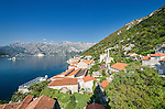 View from bell church over Perast and bay of Kotor, Montenegro