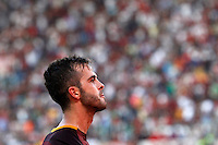 Calcio, Serie A: Roma vs Juventus. Roma, stadio Olimpico, 30 agosto 2015.<br /> Roma's Miralem Pjanic celebrates after scoring during the Italian Serie A football match between Roma and Juventus at Rome's Olympic stadium, 30 August 2015.<br /> UPDATE IMAGES PRESS/Riccardo De Luca