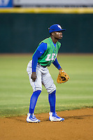 Lexington Legends shortstop D.J. Burt (2) on defense against the Hickory Crawdads at L.P. Frans Stadium on April 29, 2016 in Hickory, North Carolina.  The Crawdads defeated the Legends 6-2.  (Brian Westerholt/Four Seam Images)
